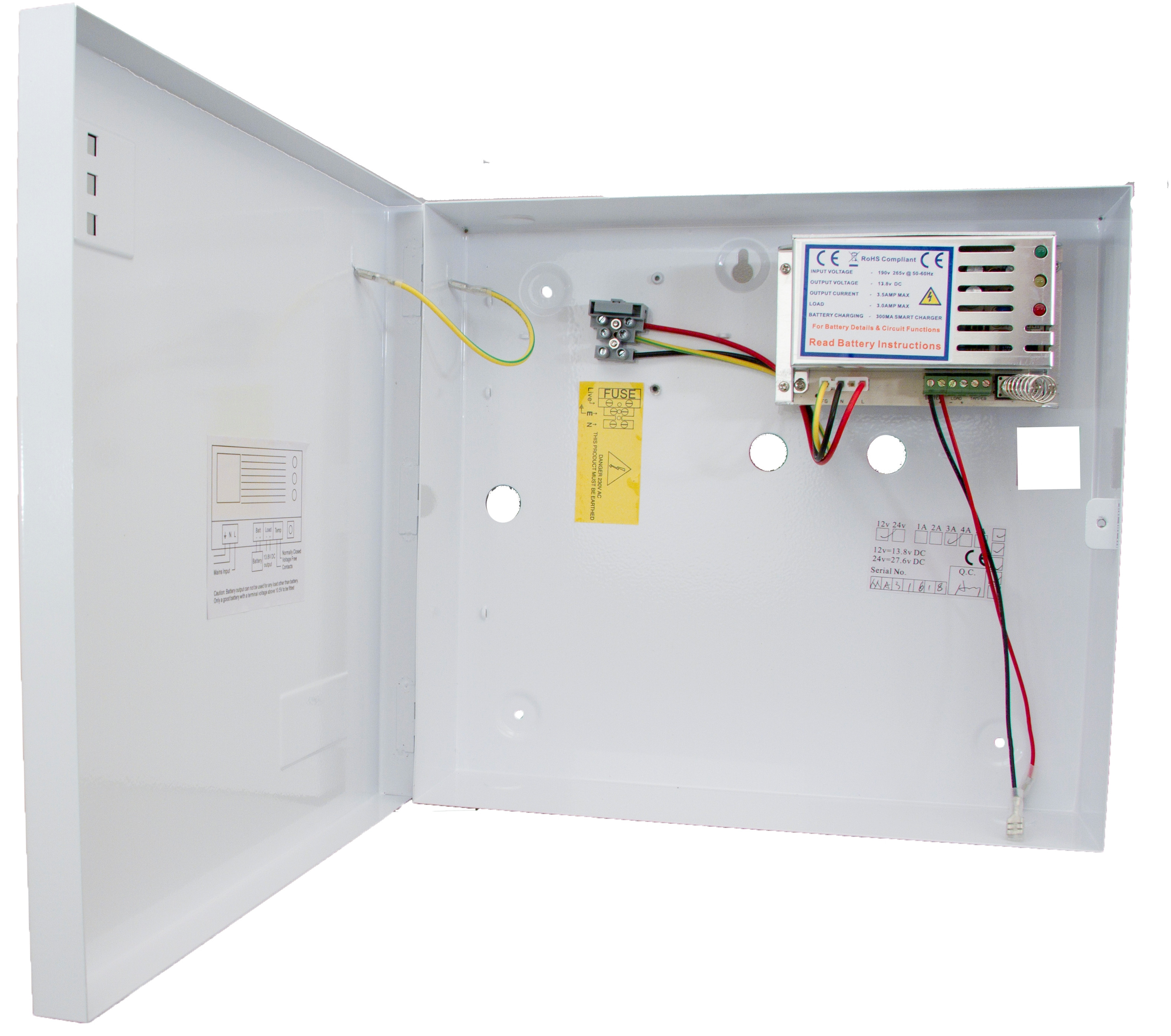 Psg702 Power Supplies Psg Switch Mode Dc Supply 138v Switchmode Unit 1 Amp Load Large Hinged Housing Multi Indicator Front Tamper Designed To House Up 9 Or 18 Ah Battery